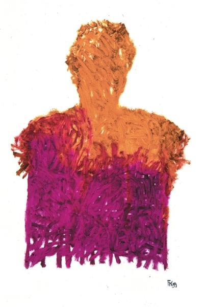 Cerner, huile sur papier, 75x105 cm, 1999. Collection privée.