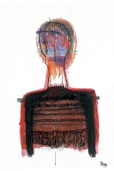 La mémoire au corps, huile sur papier, 75x105 cm, 1999. Collection privée.