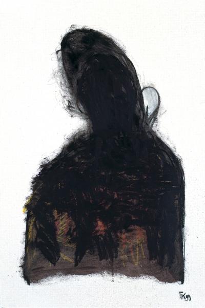 Présence noir, huile sur papier, 75x105 cm, 1999. Collection privée.