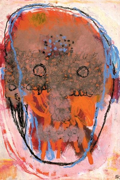 Masque tatoué, huile sur papier, 30x40cm, 1999. Collection privée.