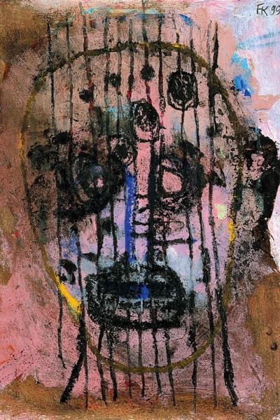 Scarification, huile sur papier, 30x40cm, 1999. Collection privée