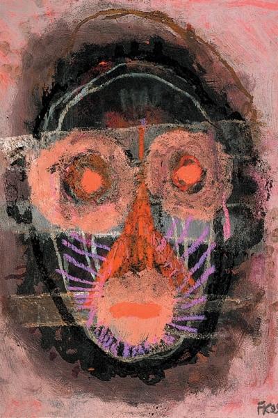 Regard bouche bée, huile sur papier, 30x40 cm,1999. Collection privée