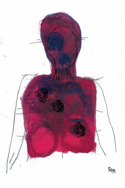 Entre le couteau et la cible, huile sur papier, 75x105 cm, 1999. Collection privée.