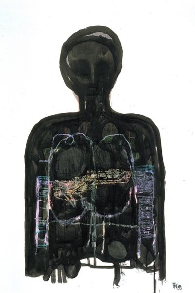 Entrelas, huile sur papier, 75x105 cm, 1999. Collection privée.