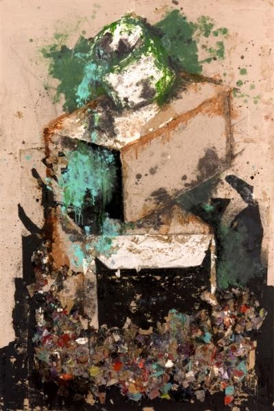 Atelier, huile sur toile 130x197 cm, 2001.