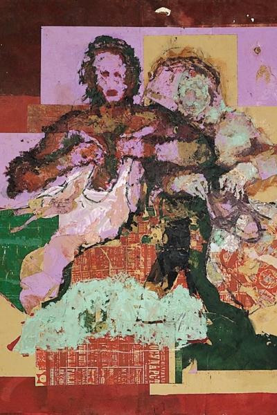 Les vendeuses de vêtements, huile sur toile 200x220 cm, 2001.