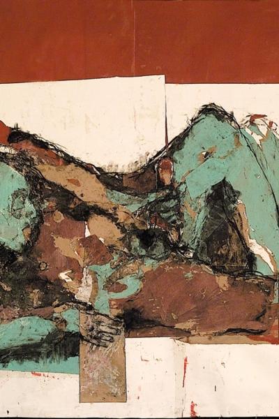 De quel désir parle t'on?, technique mixte sur papier, 80x120 cm, 2001. Collection privée.