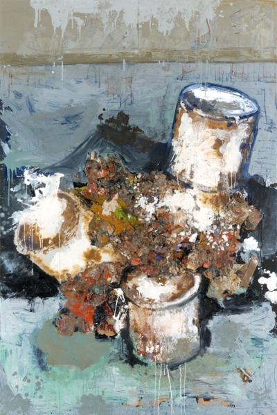 Amalgame de produits culturels, huile sur toile 130x197 cm, 2001.Collection privée.