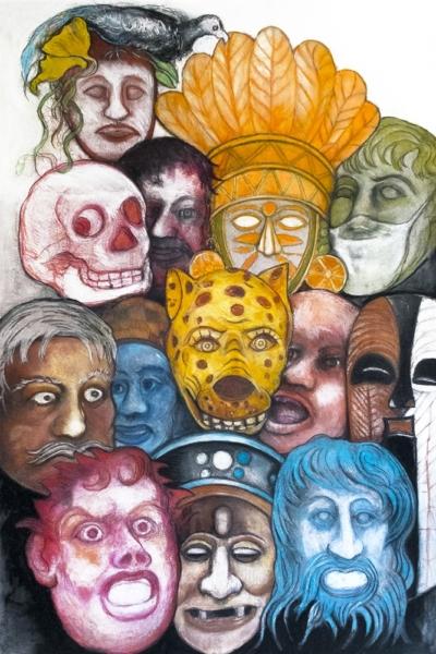 Masque, pastel sur papier, 80x120 cm, 2020.