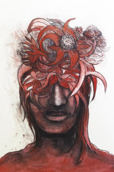 Germination rouge, pastel sur papier,76x57cm, 2020.
