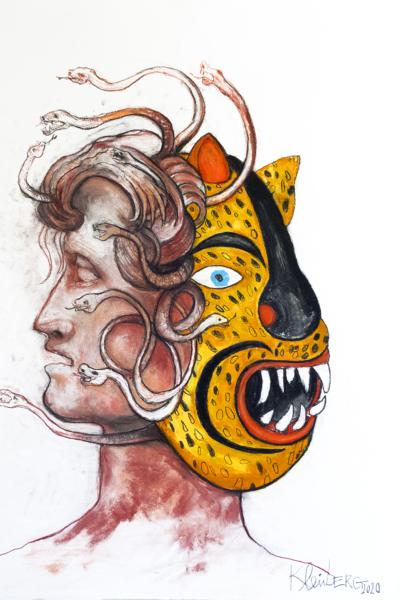 Janus, pastel sur papier 76x56 cm, 2020.