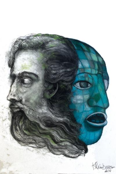 Janus IIII, pastel sur papier 76x56 cm, 2020.
