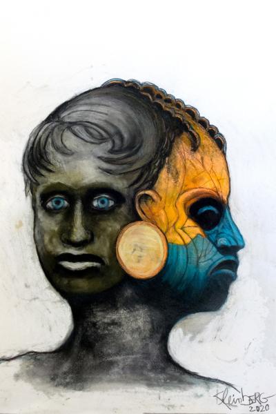 Janus III, pastel sur papier 76x56 cm, 2020.