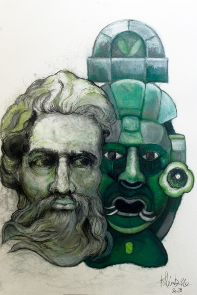 Janus II, pastel sur papier 76x56 cm, 2020.