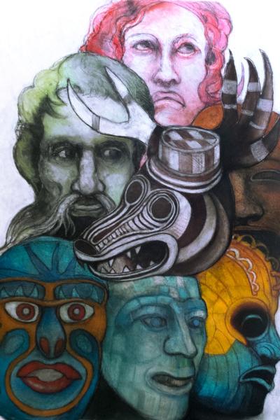 Masque I, pastel sur papier, 76x57 cm, 2020.