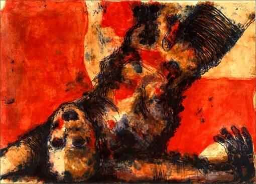 Chute de corps, 2002, lithographie, 55x76 cm, Fred Kleinberg, art édition.