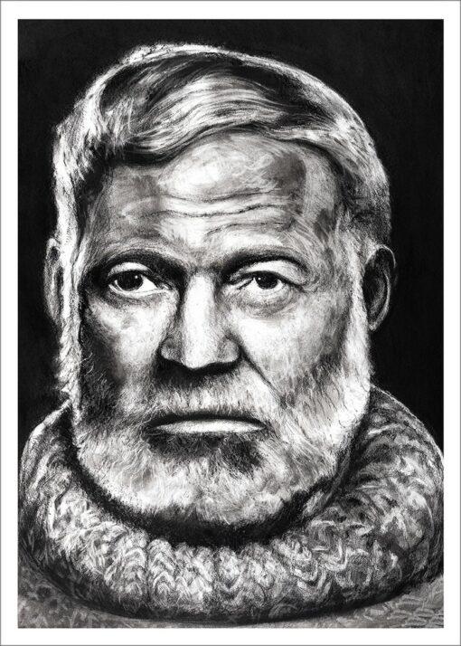 Ernest Hemingway, 2021, impression encre pigmentaire, 50x70 cm, Fred Kleinberg, art édition.