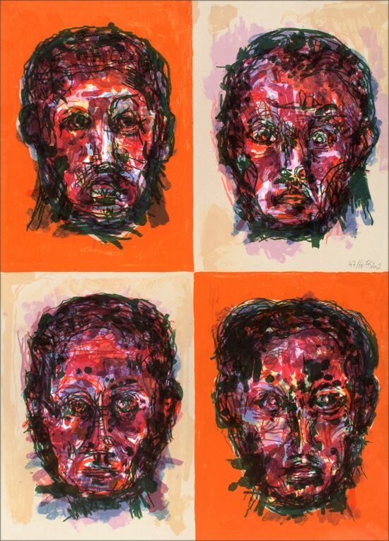 Face, 2002, lithographie, 55x76 cm, Fred Kleinberg, art édition.