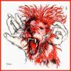 Lion, carré de soie, 90x90 cm, Fred Kleinberg, art édition.