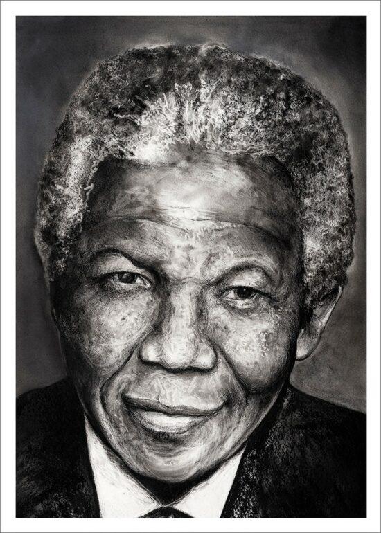 Nelson Mandela, impression encre pigmentaire, 50x70 cm, Fred Kleinberg, art édition.